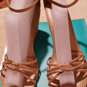 Wedges beige with retro espadrillas type  heel